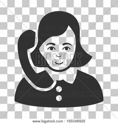 Receptionist vector pictograph. Illustration style is flat iconic gray symbol on a chess transparent background.