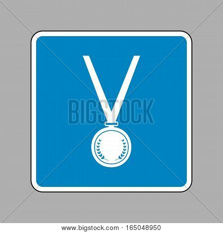 Medal Simple Sign. White Icon On Blue Sign As Background.