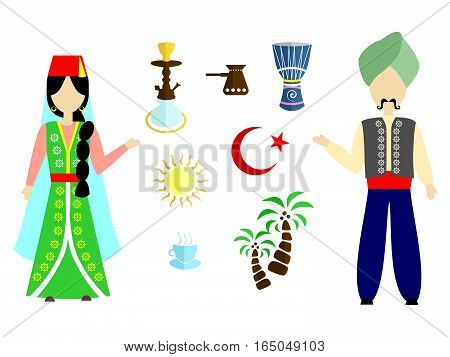 set in the style of a flat design on the theme of turkey.