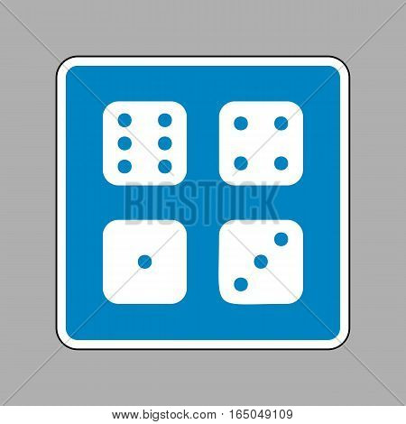 Devils Bones, Ivories Sign. White Icon On Blue Sign As Backgroun