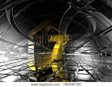 number seven in abstract futuristic space - 3d rendering