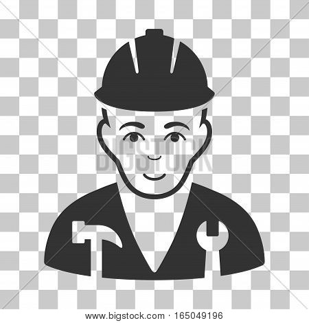 Serviceman vector icon. Illustration style is flat iconic gray symbol on a chess transparent background.