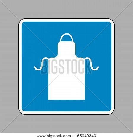 Apron Simple Sign. White Icon On Blue Sign As Background.