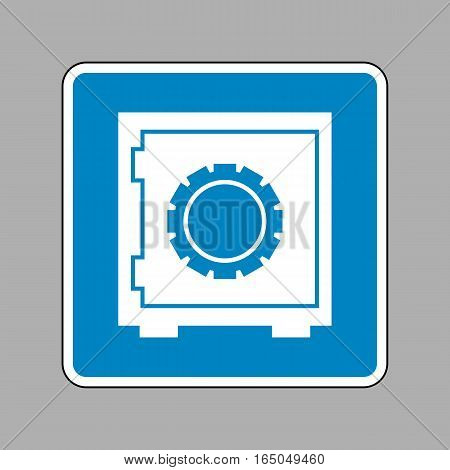 Safe Sign Illustration. White Icon On Blue Sign As Background.