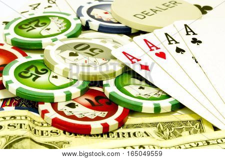 Poker table with chips money and cards
