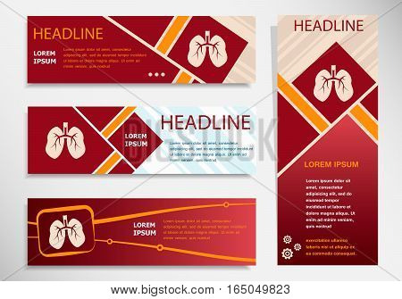 Lung Icon On Vector Website Headers, Business Success Concept