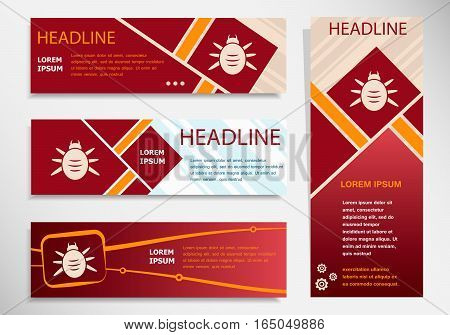Bug Icon On Vector Website Headers, Business Success Concept