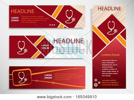 Stethoscope  Icon On Vector Website Headers, Business Success Concept