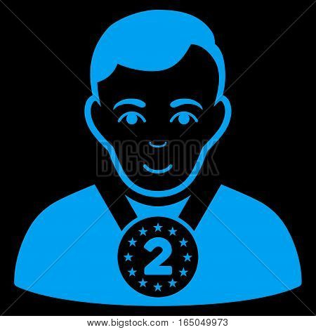 2nd Prizer Sportsman vector icon. Flat blue symbol. Pictogram is isolated on a black background. Designed for web and software interfaces.