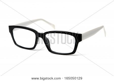 Nerd glasses on isolated white background, perfect reflection.