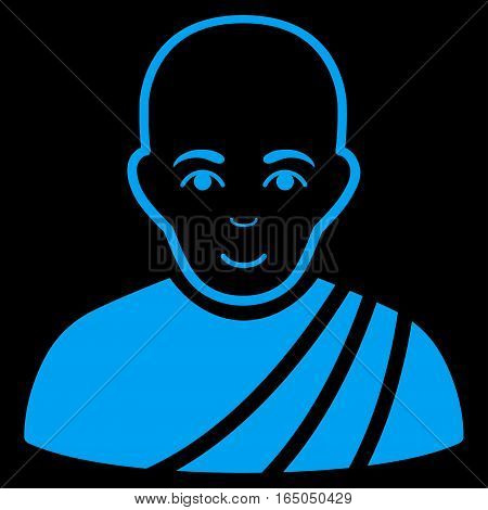 Buddhist Monk vector icon. Flat blue symbol. Pictogram is isolated on a black background. Designed for web and software interfaces.