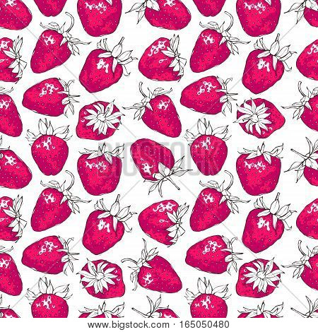 Seamless pattern with pink strawberries. Hand-drawn print. EPS 10 vector illustration.