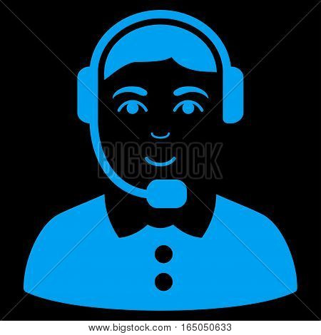 Call Center Operator vector icon. Flat blue symbol. Pictogram is isolated on a black background. Designed for web and software interfaces.