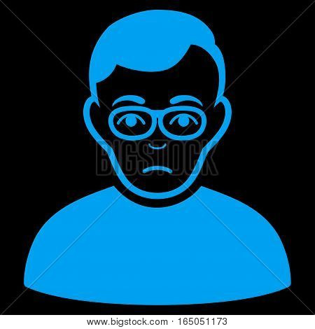 Downer vector icon. Flat blue symbol. Pictogram is isolated on a black background. Designed for web and software interfaces.