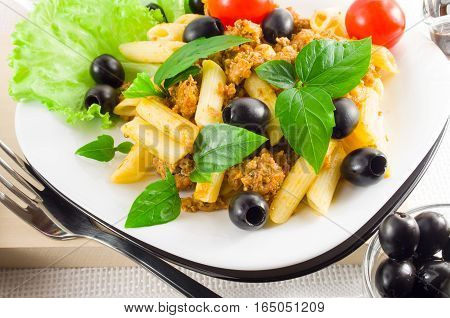 Italian Pasta Rigatoni With Bolognese, Beef And Olives