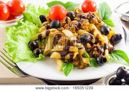 Dish Of Italian Pasta Rigatoni With Bolognese Sauce