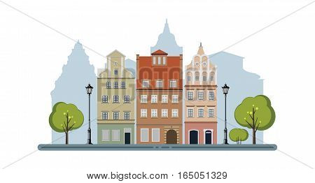 Urban landscape. Colorful facades of old houses. Vector illustration.