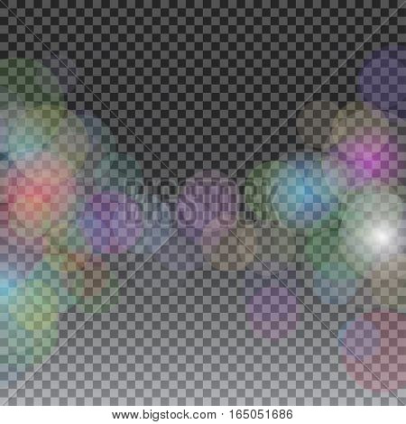 Abstract bokeh sunbeams effect isolated on transparent plaid background. Defocused and blurred, shimmer decoration glare illustration