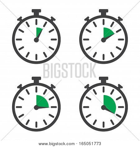 Stopwatch set in a flat design on a white background