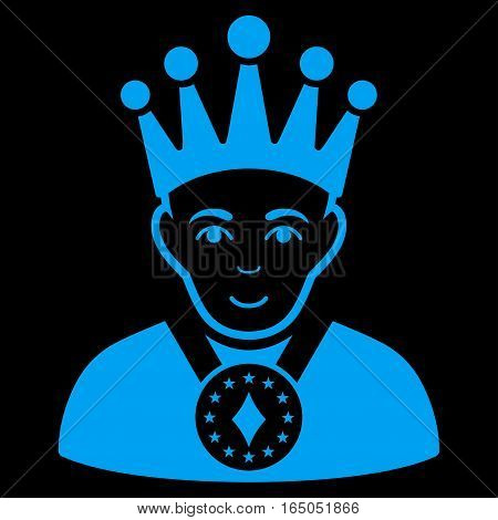 King vector icon. Flat blue symbol. Pictogram is isolated on a black background. Designed for web and software interfaces.
