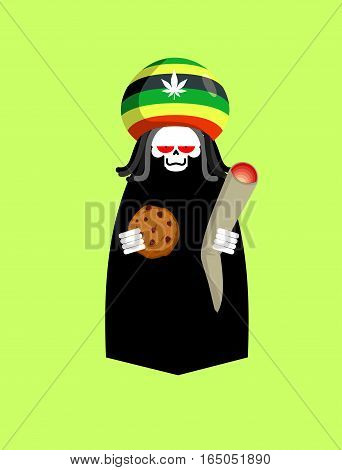 Rasta Death. Rastafarians Grim Reaper. Hat Rastaman And Joint Or Spliff Of Marijuana. Cookies And Sk