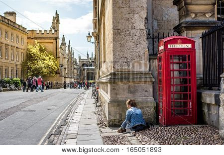 Oxford UK - 30 April 2016: Turists visiting the historic city centre and university of Oxford