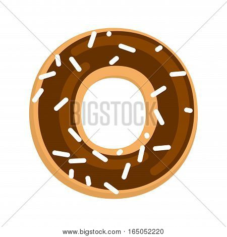Chocolate Donut Isolated. Cruller Glaze  And Sprinkling On White Background. Sweetness Of Dessert