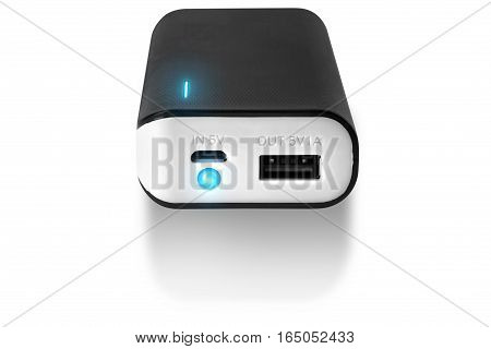 Black Power bank at white background isolated