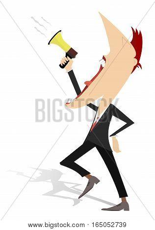 Announcement illustration. Cartoon man shouts in megaphone