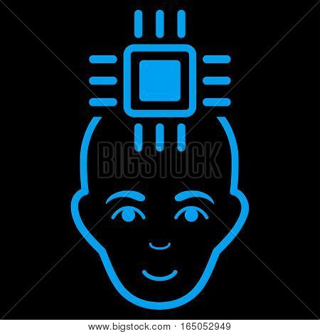Neural Computer Interface vector icon. Flat blue symbol. Pictogram is isolated on a black background. Designed for web and software interfaces.