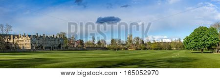 Oxford UK - 30 April 2016: Panoramic view of Christchurch College Meadow