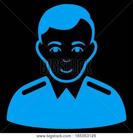 Officer vector icon. Flat blue symbol. Pictogram is isolated on a black background. Designed for web and software interfaces.