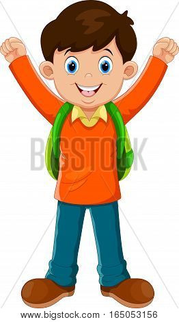 Vector illustration of cute boy go to school isolated on white background