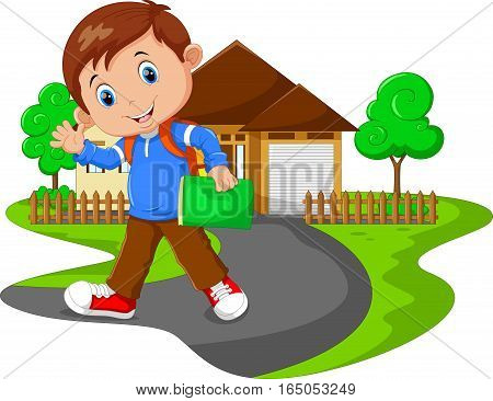 Vector illustration of cute boy go to school on house background
