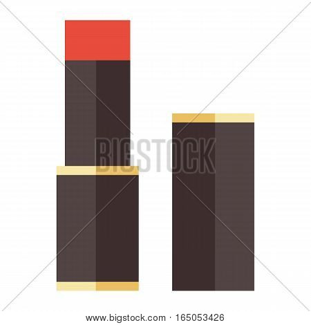 Red lipstick isolated on white background. Beautiful female stick glossy elegance style makeup color. Glamour shiny tube accessory cosmetics product vector.