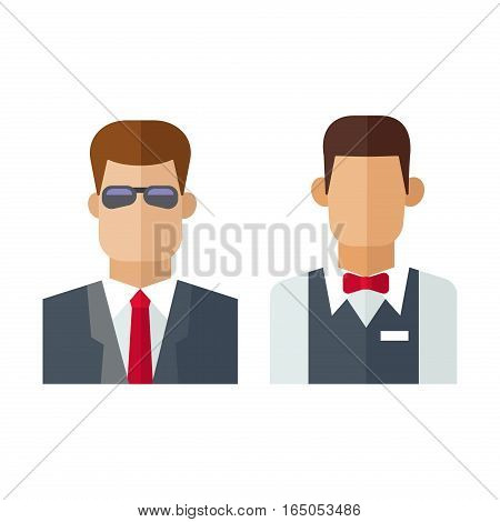 Security man standing indoors vector illustration. Bodyguard uniform protection officer flat style. Secure event occupation male in sunglasses character.