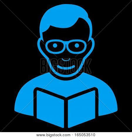 Reader vector icon. Flat blue symbol. Pictogram is isolated on a black background. Designed for web and software interfaces.