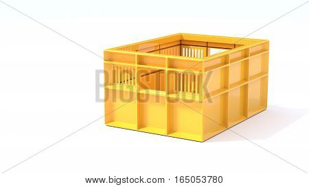 yellow box used in transport 3d illustration