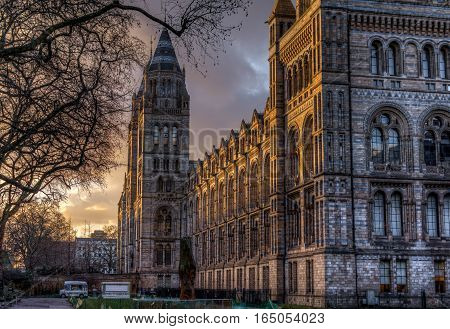 London, UK - January 30, 2016: The fron facede of the british Natural History Museum at sunset as seen from the exhibition road