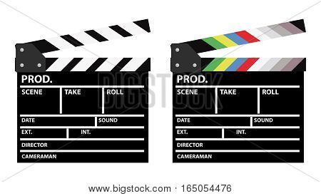 Set of two movie clappers one in color