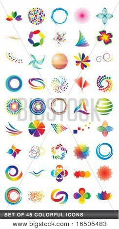 set of 45 colorful icons