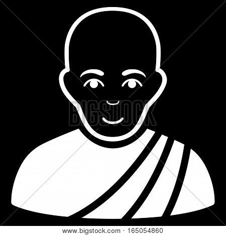 Buddhist Monk vector icon. Flat white symbol. Pictogram is isolated on a black background. Designed for web and software interfaces.