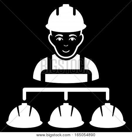 Builder Management vector icon. Flat white symbol. Pictogram is isolated on a black background. Designed for web and software interfaces.