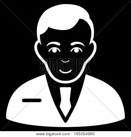 Businessman vector icon. Flat white symbol. Pictogram is isolated on a black background. Designed for web and software interfaces.