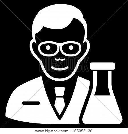 Chemist vector icon. Flat white symbol. Pictogram is isolated on a black background. Designed for web and software interfaces.