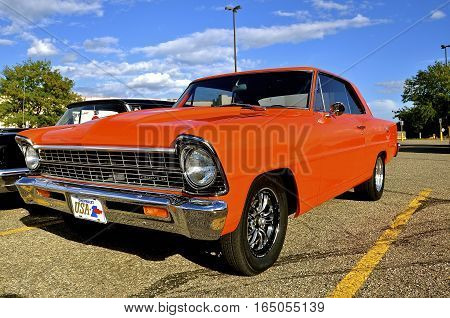 YANKTON, SOUTH DAKOTA, August 19, 2106: The restored classic Chevy Nova is displayed at the car show at Riverboat Days in Yankton, SD, held annually each 3rd weekend of August.