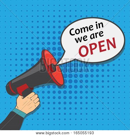 come in, open, we, are, vector, loud, speaker, flat, icon, business, alert, media, hand, minimal, broadcasting, employment, recruitment, sign, shout, marketing, megaphone, illustration,amplifier, employee, attention, career, staff, manager, voice, resourc