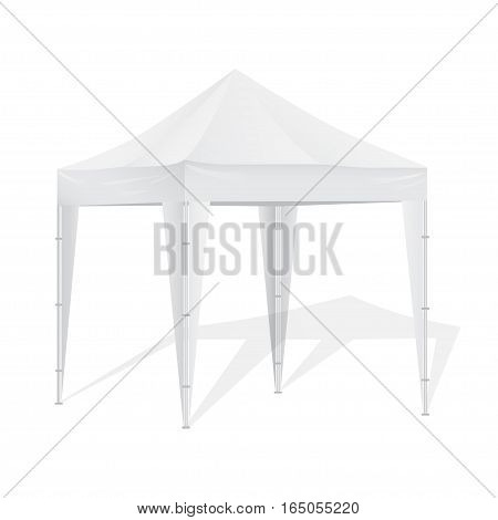 Promotional Advertising Outdoor Event Trade Show Pop-Up Tent Mobile Advertising Marquee. Mock Up, Template.Vector illustration Isolated On White Background