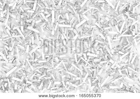 A tangled pile of white geometric confetti shapes on a bright background. 3D illustration.