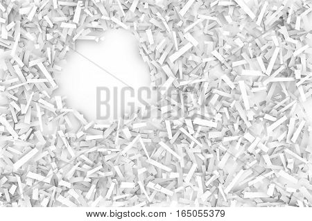 A tangled pile of white geometric confetti shapes on a bright background. 3D illustration. Space for text upper left.